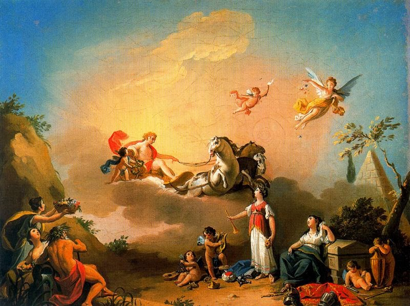 Alegoría del Teatro con Apolo, Talía y Melpómene. 1802. Boceto de Zacarías González Velázquez