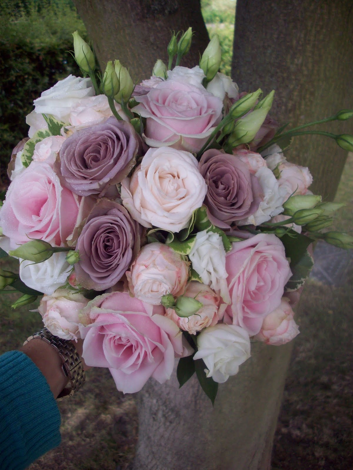 Florian designer florist wedding flower specialist mink and blush bouquet of mixed roses spray roses and lisianthus all softened with a varigated foliage the shades from nude blush taupe and mink was just lovley mightylinksfo