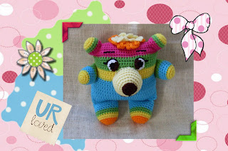 huge eyes,neon bright colors, super cute crochet Amigurumi bear