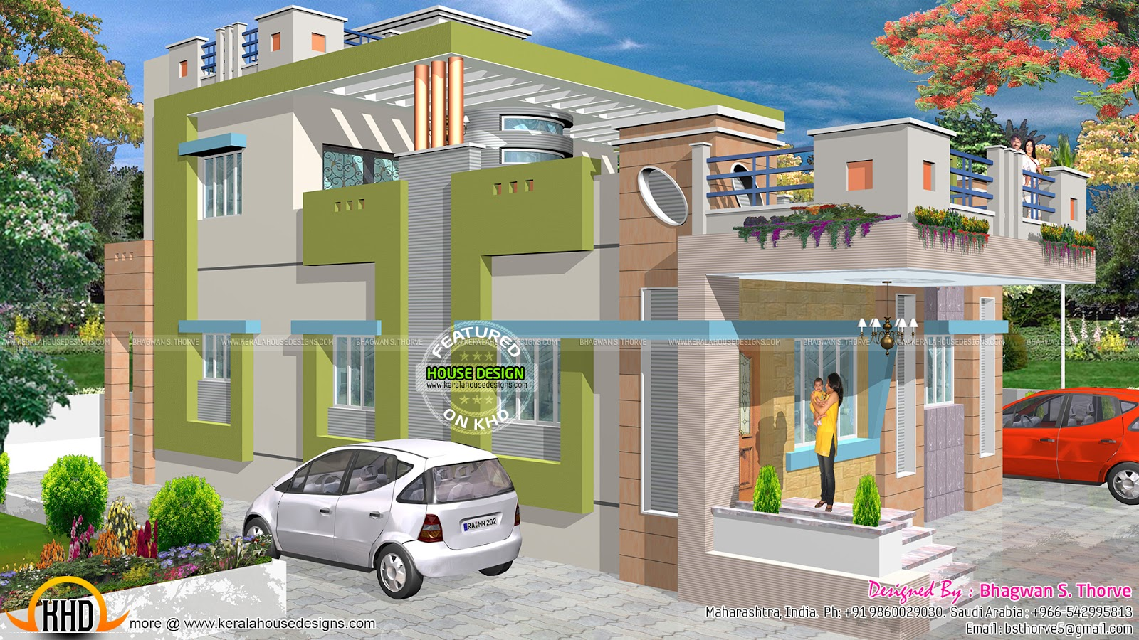 Maharashtra house design with plan kerala home design for Side view house plans