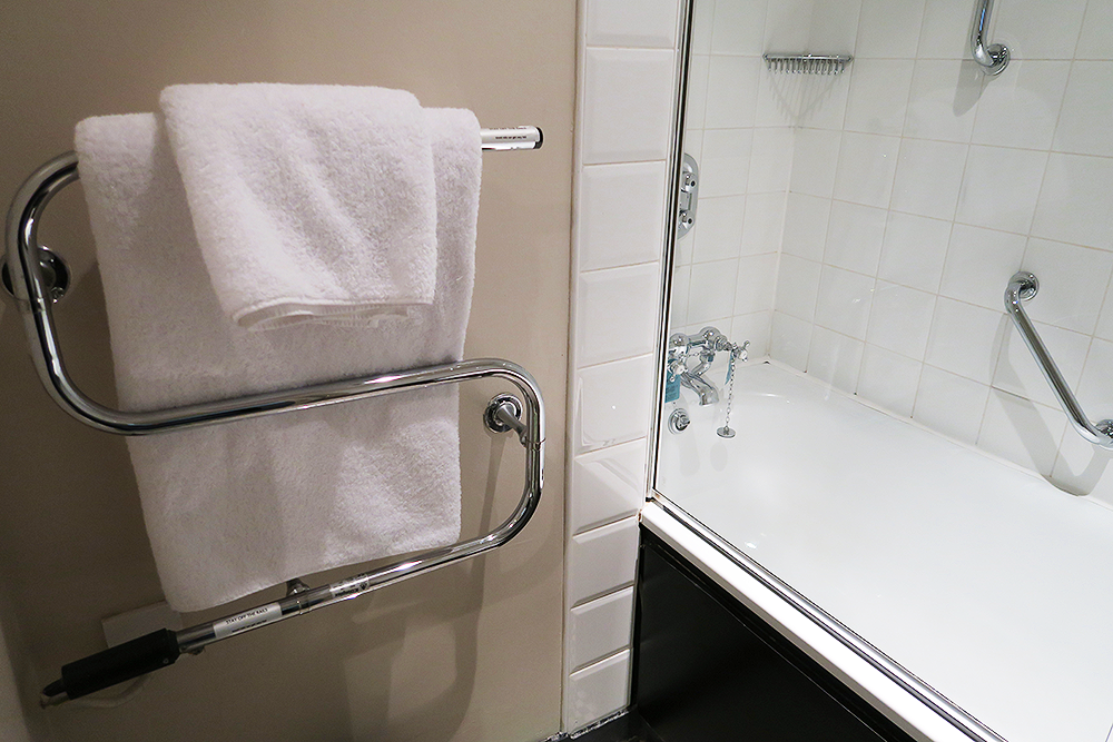 Towel rail and bath/shower at Malmaison Leeds