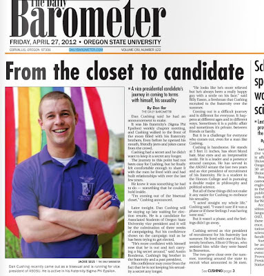 OSU frat boy candidate comes out on front page of Barometer Apr. 27, 2012