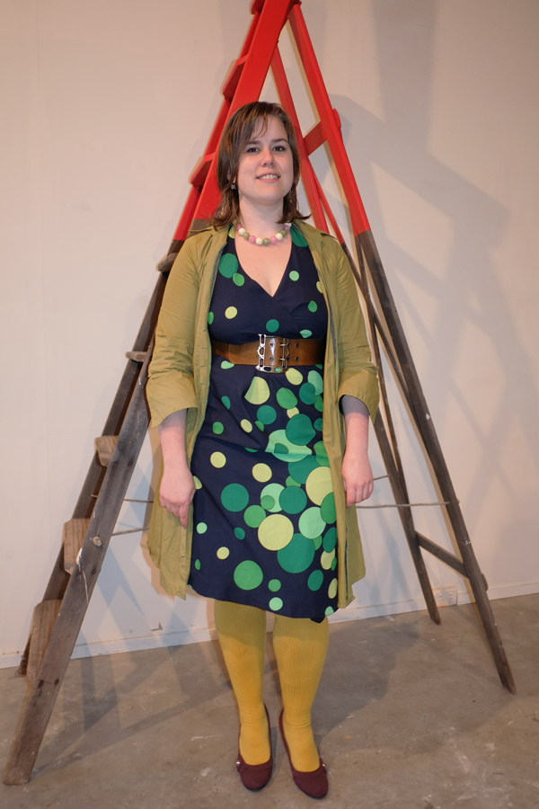 Blue Dress with Green Spots, matching mustard/green tights and jacket..