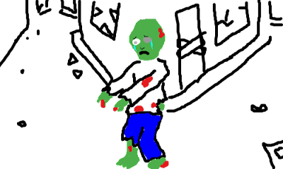 Kermit the frog as a human zombie