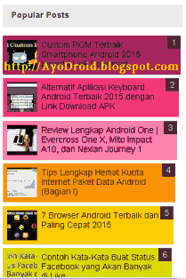 Cara Membuat Widget Popular Post Warna Warni di Blog