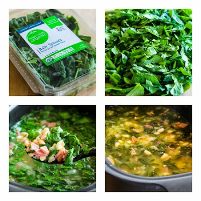 Slow Cooker Bean Soup with Ham, Spinach, and Thyme (and Ten More Bean Soups with Greens) found on KalynsKitchen.com