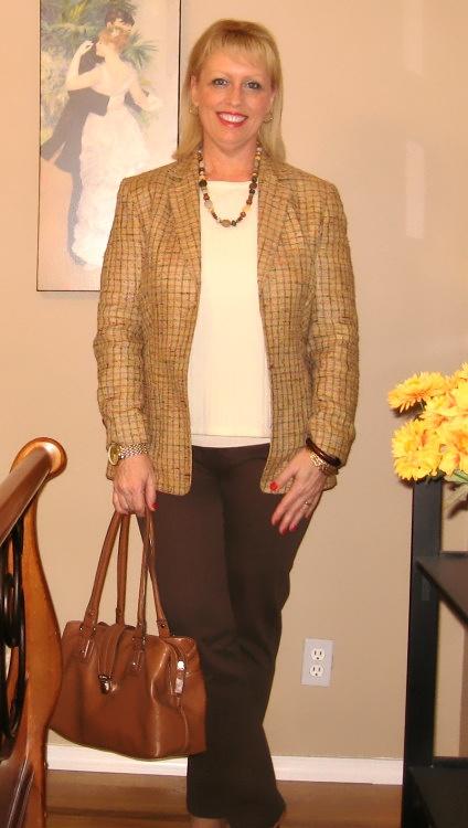 tweed blazer brown jeans