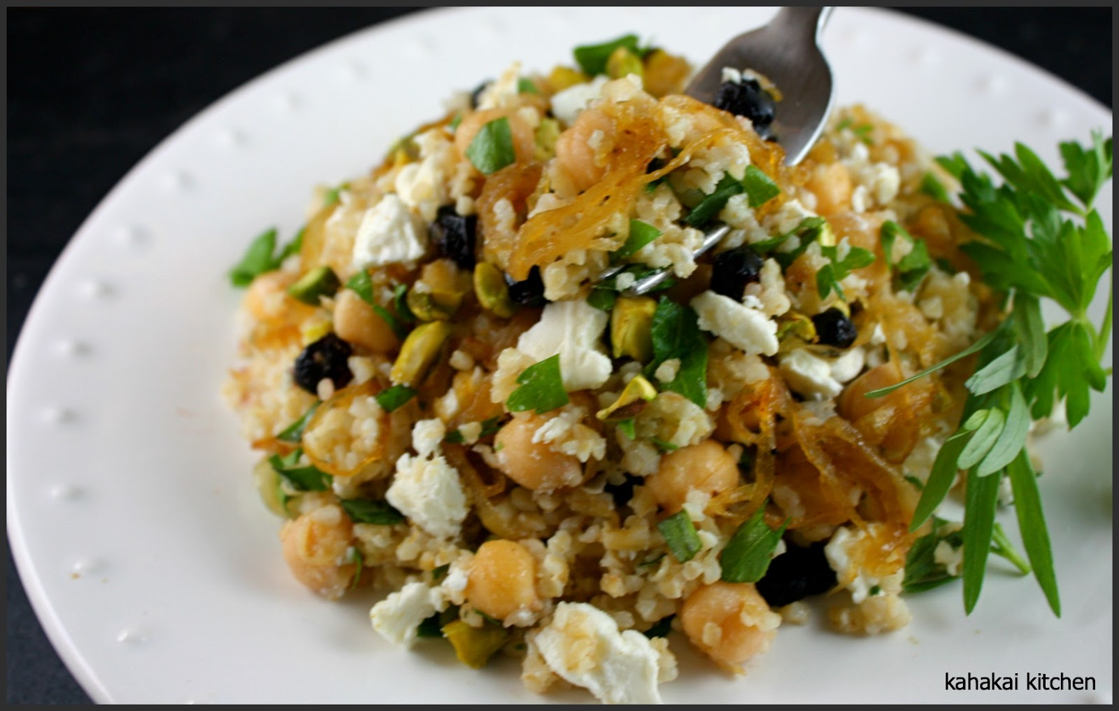 Kahakai Kitchen: Bulgur Salad with Chickpeas, Caramelized Onion, Feta ...