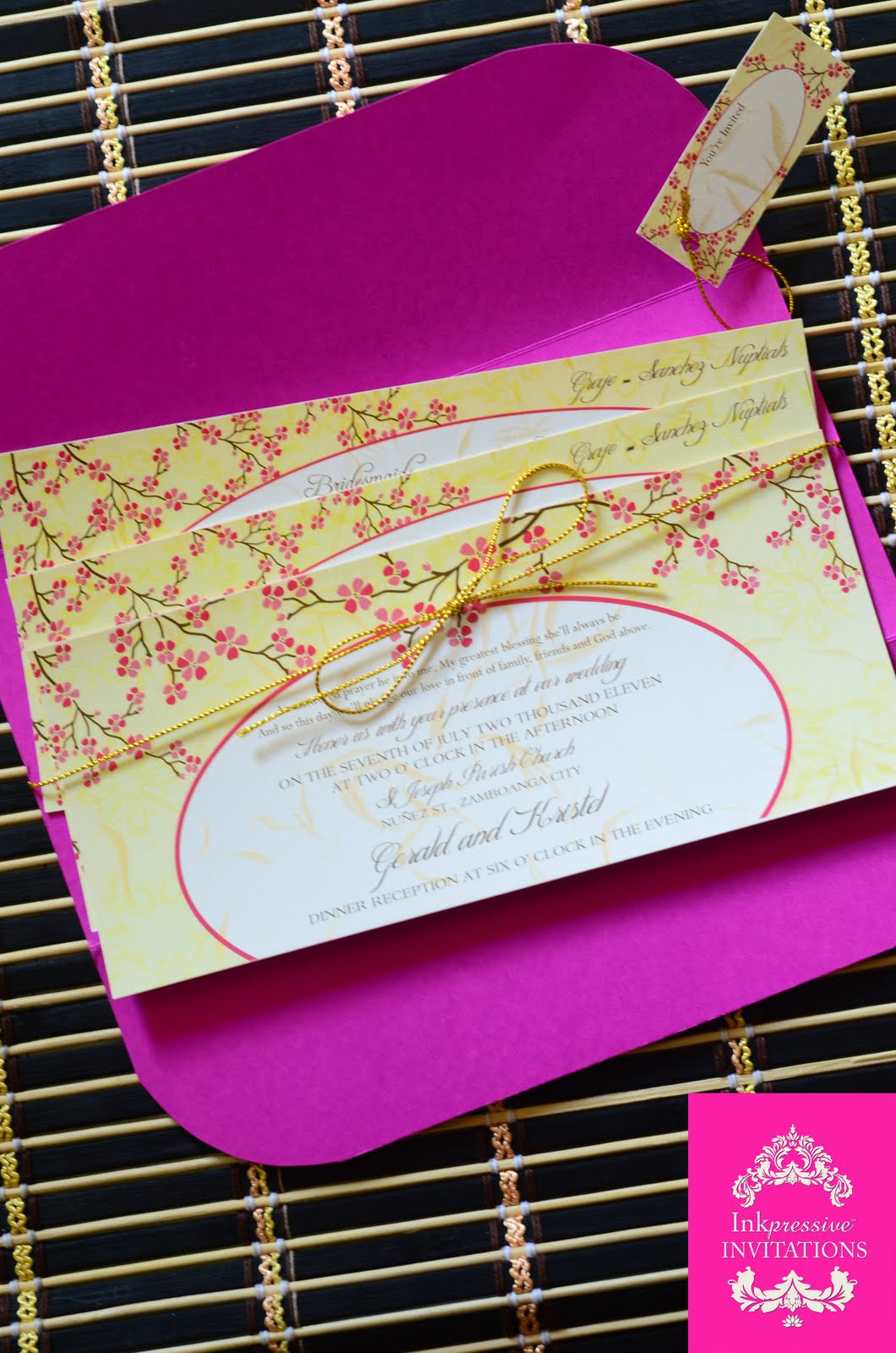 Cherry Blossom Themed Wedding Invitation Inkpressive Invitations