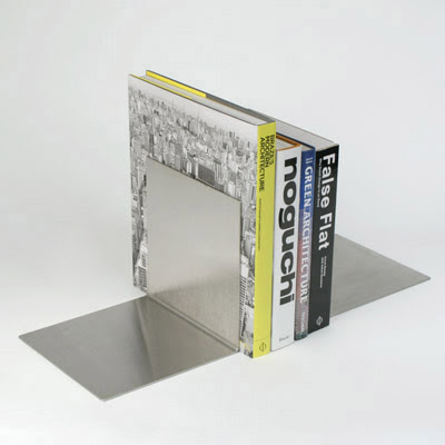 simple heavy-duty stainless steel bookends