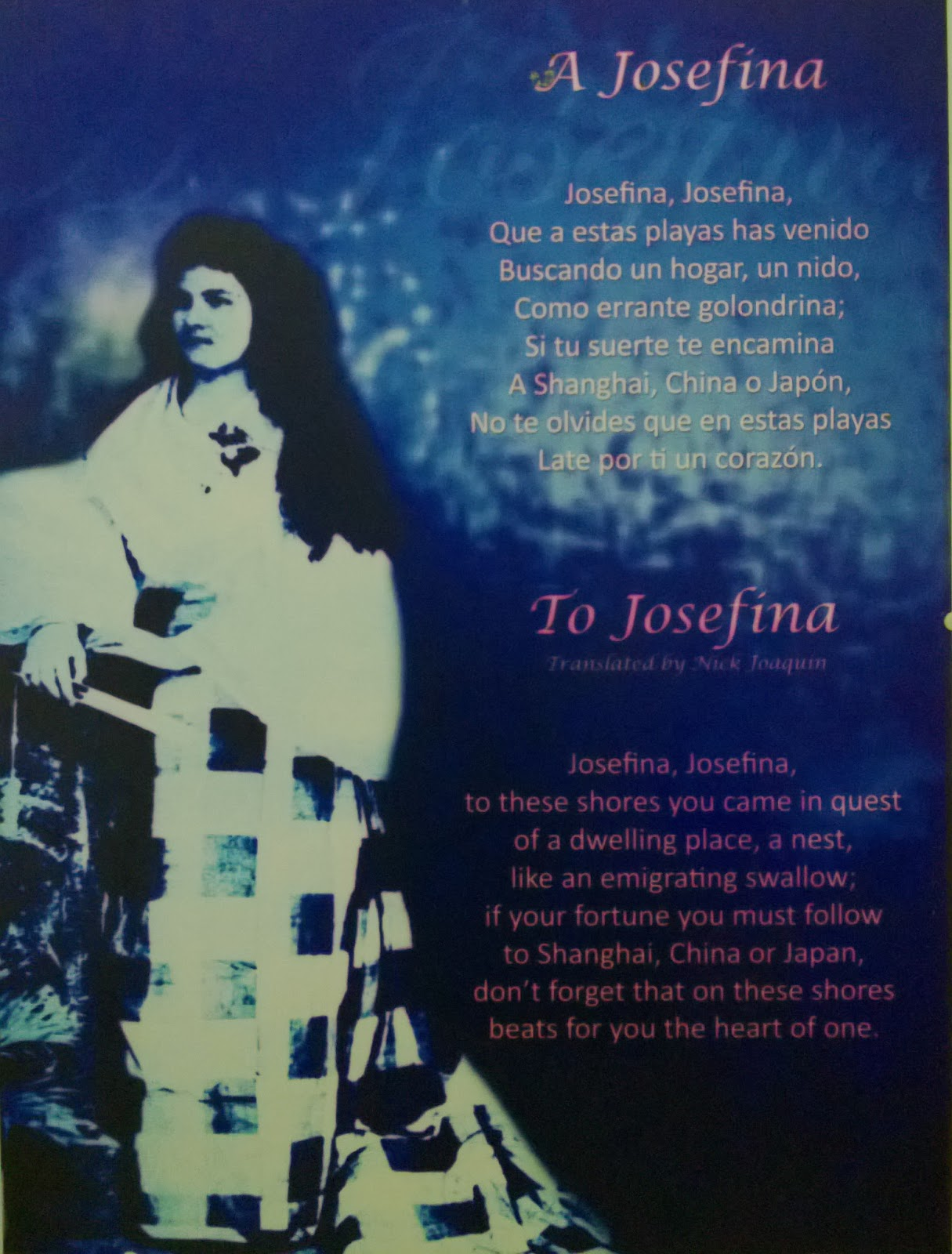 to josephine poem of jose rizal The mysterious miscarriage of mrs jose rizal  taufer and josephine had met rizal in hongkong,  a poem by dean jorge bocobo.