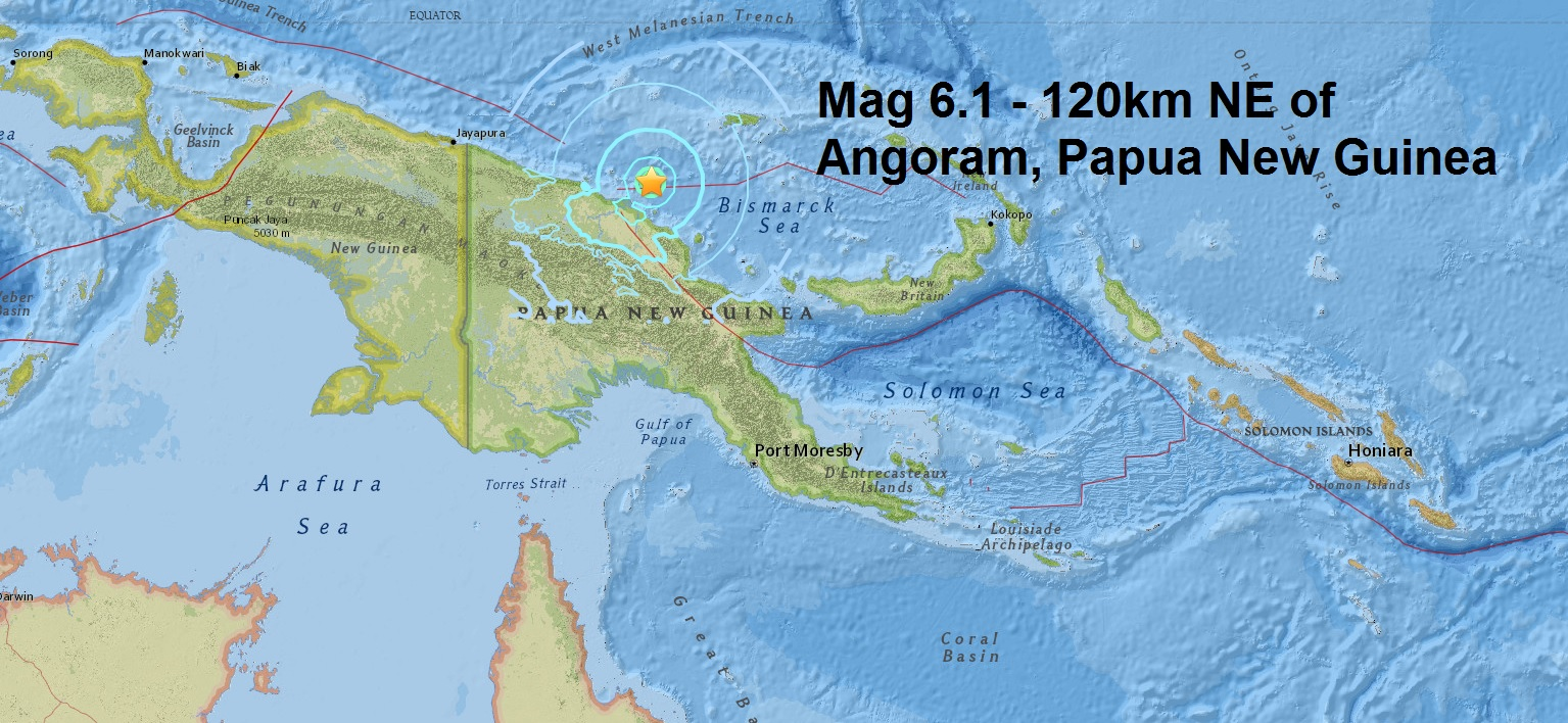 A magnitude 6.1 - 120km NE of Angoram, Papua New Guinea is the second major quake of April