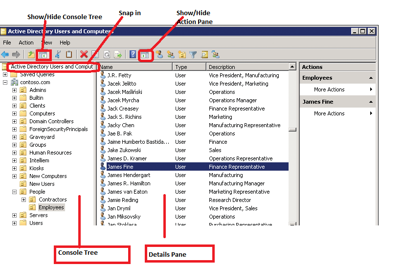 Working with active directory snap ins server tutorials simplified - Console active directory ...