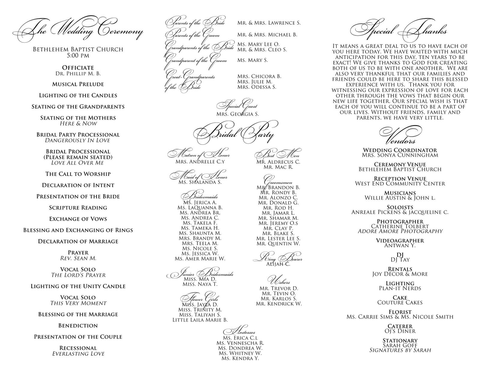 Signatures by Sarah: Wedding Menu and Program for Tameca
