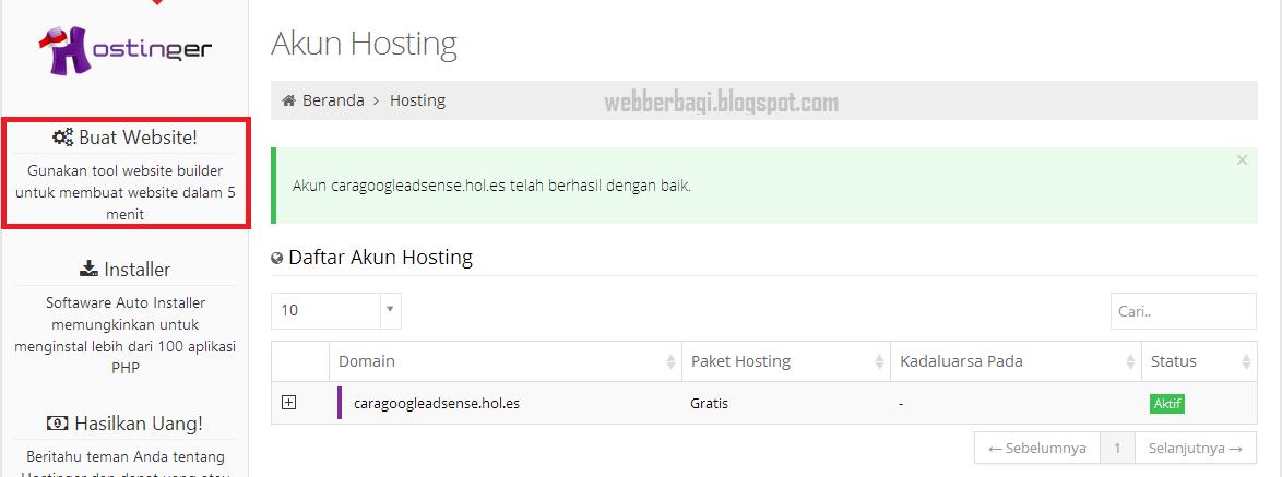 Akun hosting gratis IdHostinger
