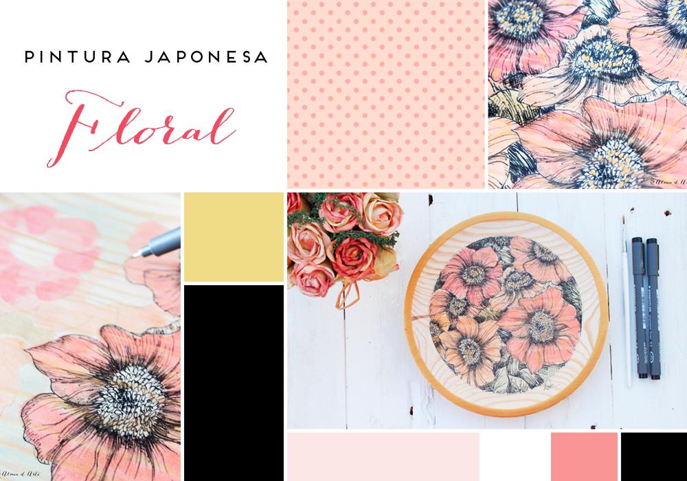 Moodboard pintura japonesa floral