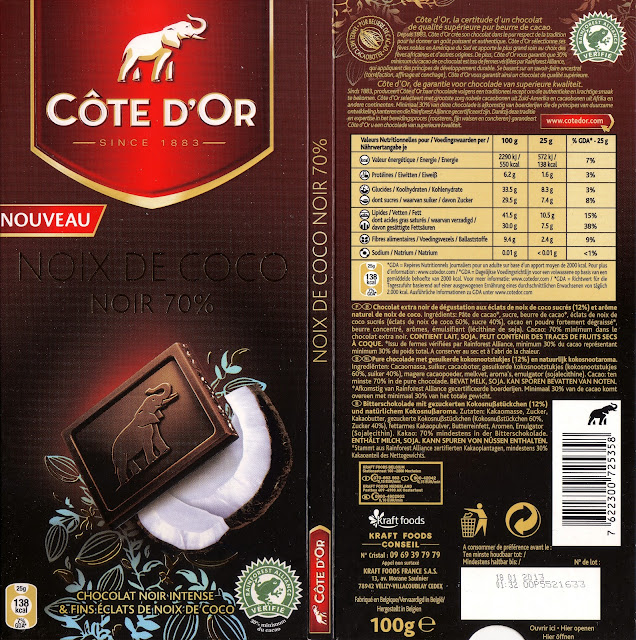 tablette de chocolat noir gourmand côte d'or noix de coco 70