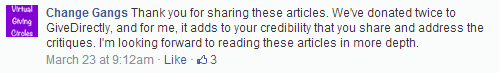 Screenshot of Facebook post from donor