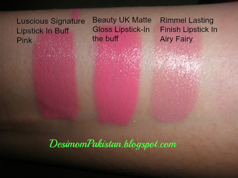 watch of Luscious buff pink,beauty UK in the buff and Rimmel Airy   Fairy.