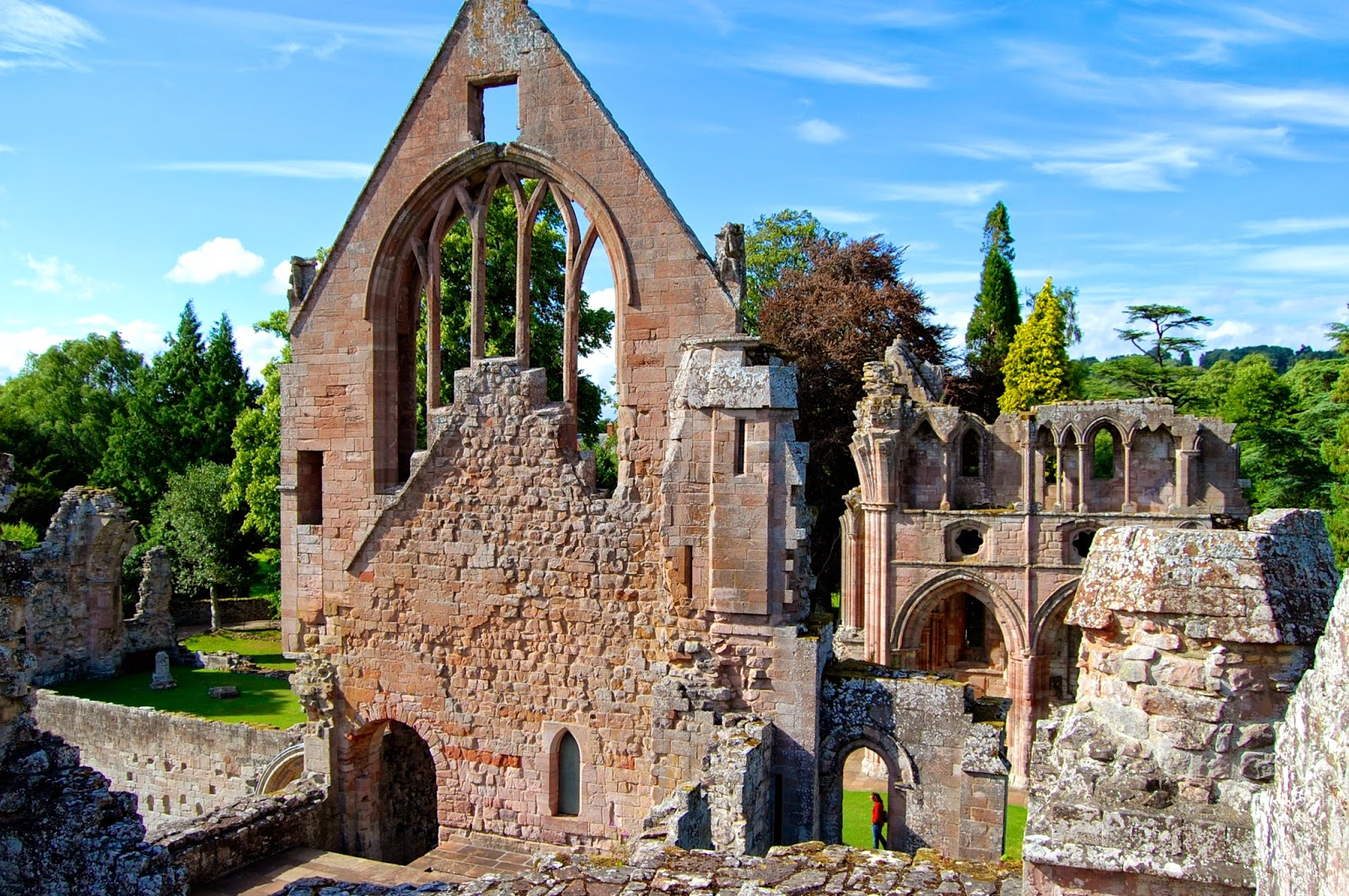 View of the Dryburgh Abbey ruins from a tower
