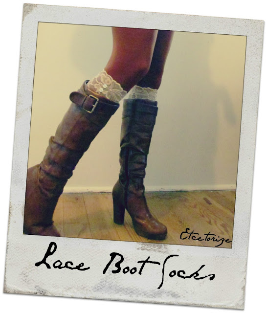 lace socks, boot socks, DIY leg warmers, how to make boot socks, http://etcetorize.blogspot.com