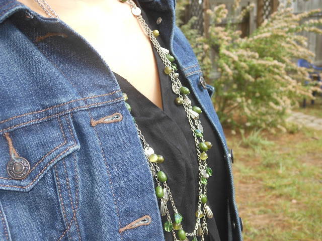 black old navy jumpsuit green necklace denim jean jacket outfit post inspiration casual leopard flats