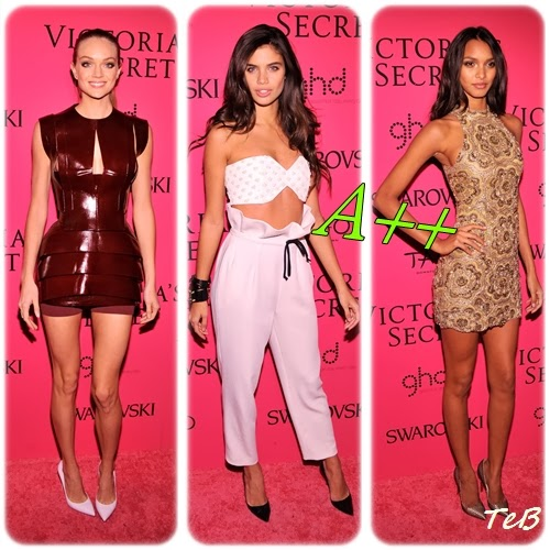 best dressed dell'after party: Lindsey Ellingson in Mugler, Sara Sampaio (testimonial Calzedonia) in Osmam e Lais in un mini dress dorato