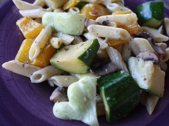 Creamy Penne with Sauteed Vegetables recipe by Barefeet In The Kitchen