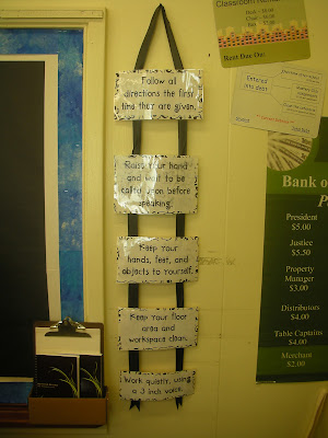 Displaying the rules that were created together on the first day of 5th grade.