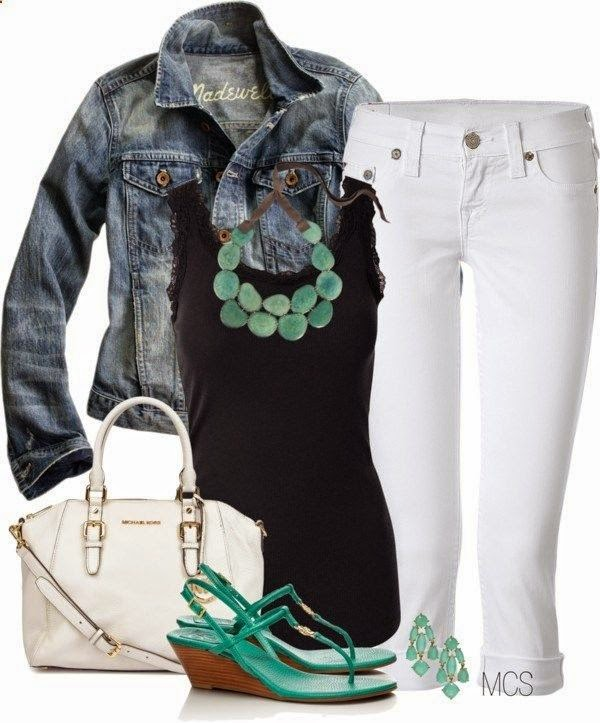Denim Jacket White Jean Inspiration Back to the Basics by mclaires liked on Polyvore