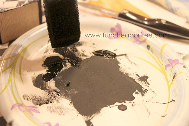 Black paint on a paper plate, from Fun Cheap or Free