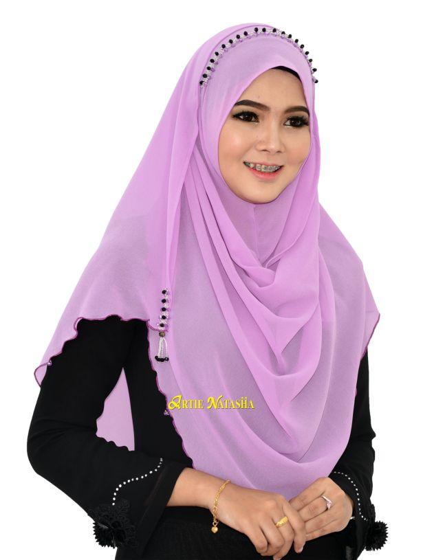 Tudung Instant Shawl Natasha Puteri Lite Purple