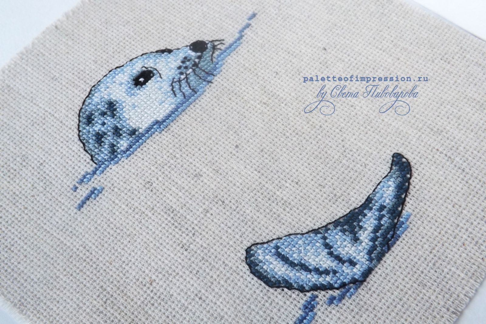 Тюлень от RICO design. Вышивка крестом. Блог Вся палитра впечатлений. Проект: рабочее место.