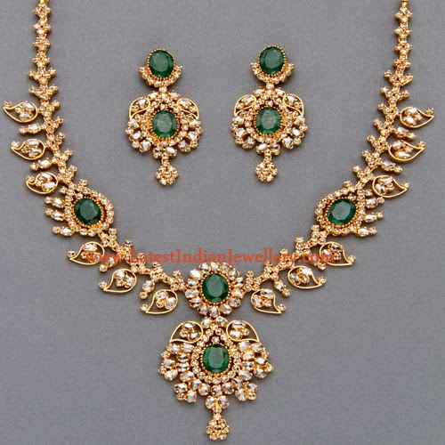 Brilliant Uncut Diamond And Emerald Necklace