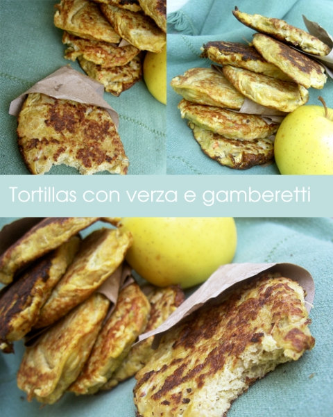 tortillas con verza e gamberetti