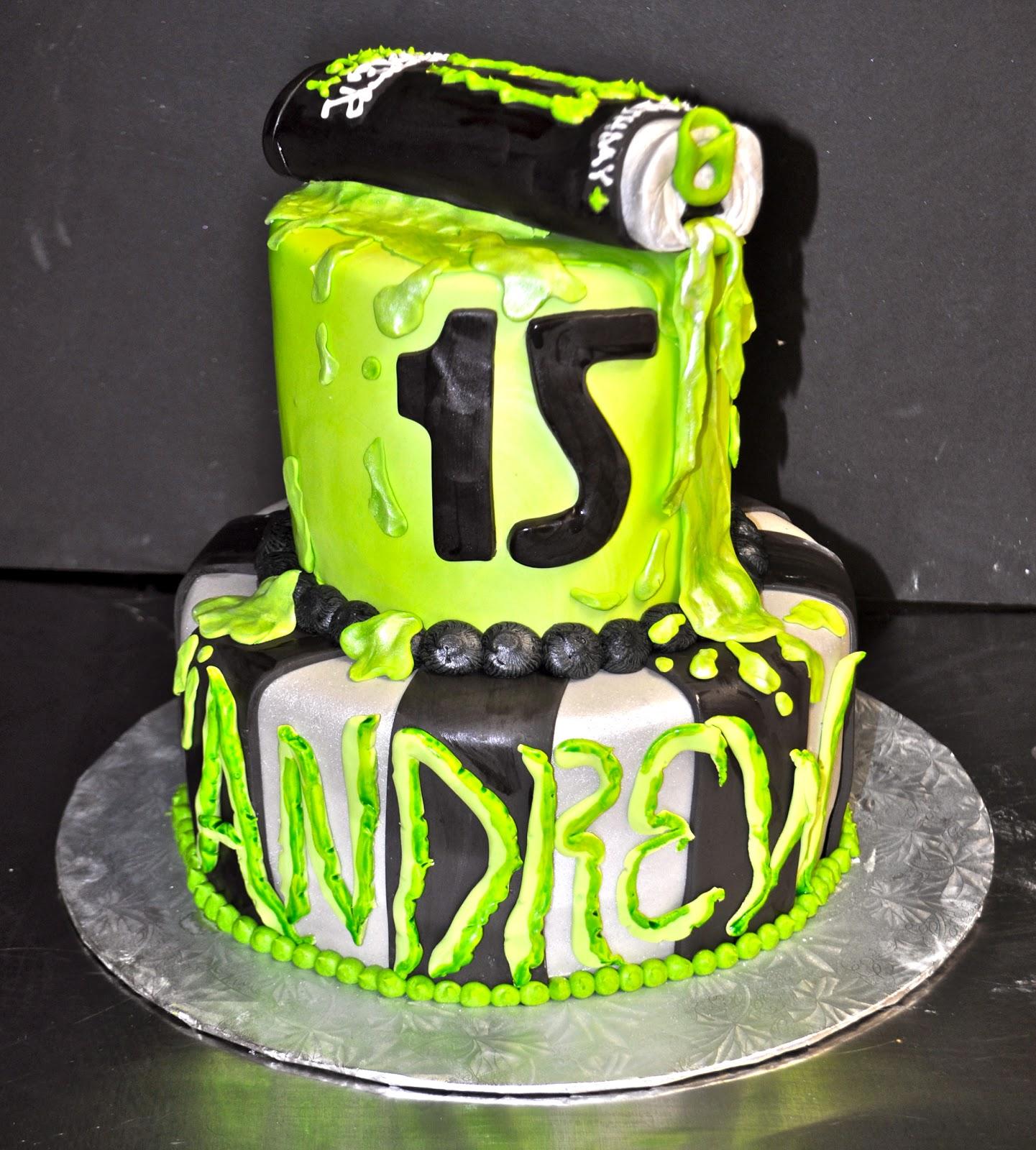 Monster Energy Drink Birthday Cake