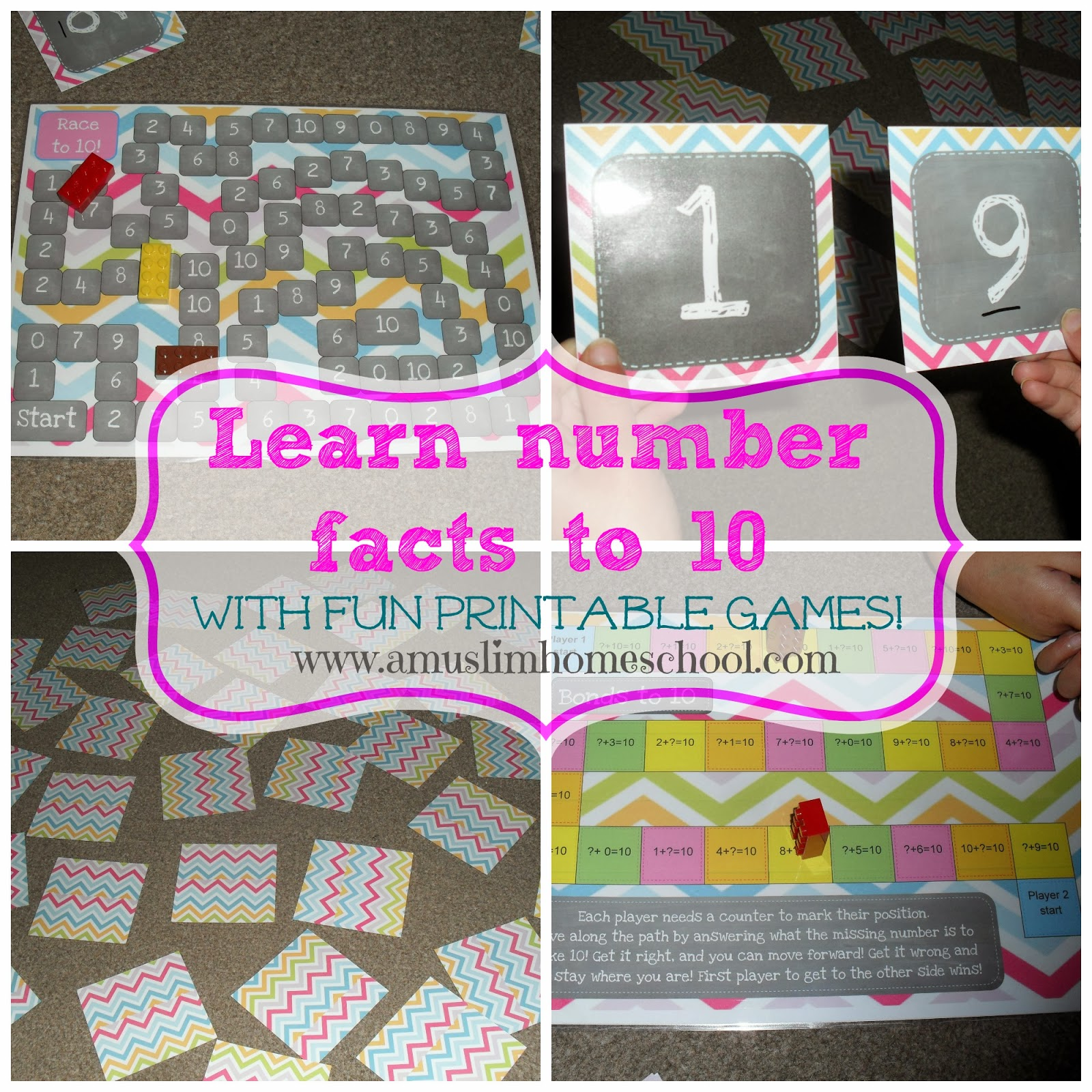 free printable math games to learn number facts / bonds to 10
