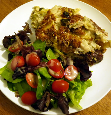 baby leek and potato gratin with green salad