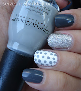 Gray Polka Dot Nails