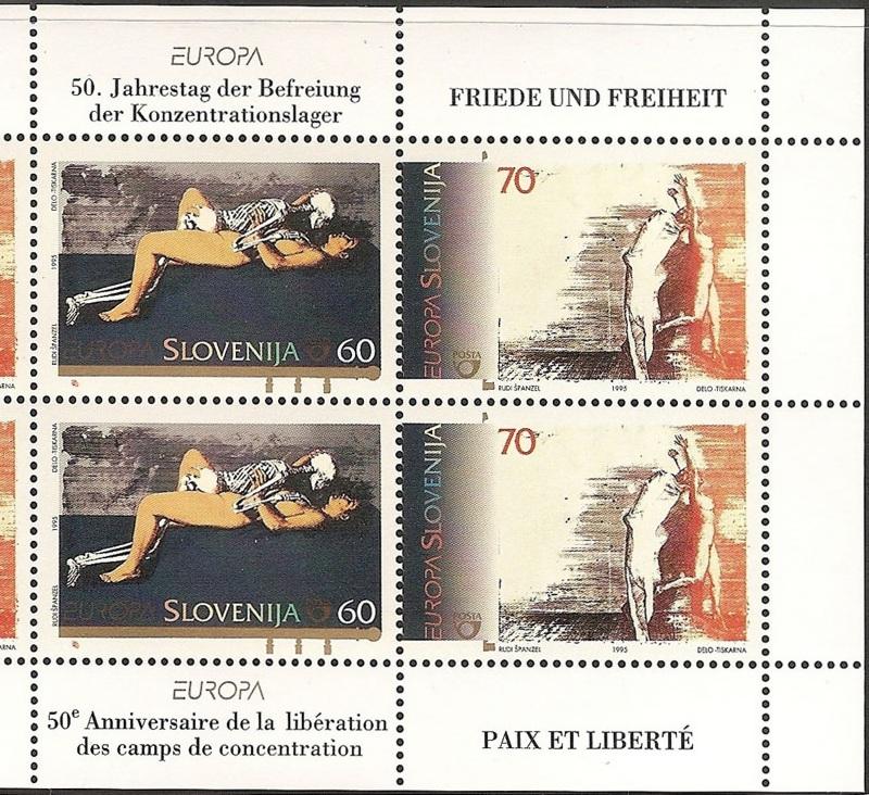 Slovenske frimærker fra 1995, i anledning af 50-års dagen for befrielsen fra de nazityske KZ lejre