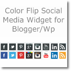 Color flip Social media widget for Blogger/Wordpress
