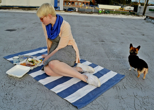Seattle, street style, Spring fashion, Madewell sweatshirt dress, picnic, stripes, rooftop