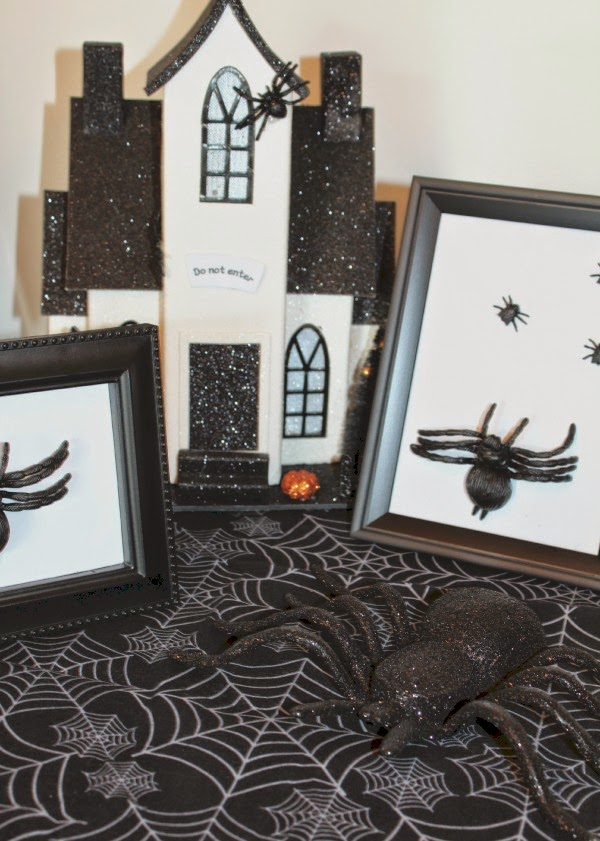 halloween craft spider picture frame