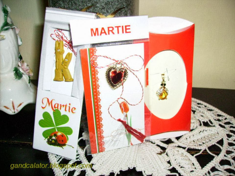 """""""Mărțișorul este un mic obiect de podoabă legat de un șnur împletit dintr-un fir alb și unul roșu,care apare în tradiția românilor și a unor populații învecinate. Femeile și fetele primesc mărțișoare și le poartă pe durata lunii martie, ca semn al sosirii primăverii. Împreună cu mărțișorul se oferă adesea și flori timpurii de primăvară, cea mai reprezentativă fiind ghiocelul.""""    """"The name Mărțișor is the diminutive of marț, the old folk name for March (Martie, in modern Romanian), and thus literally means """"little March"""". It is also the folk name for this month."""" Wikipedia"""