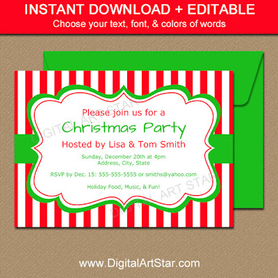 Editable Christmas Invitation Template with Red & White Stripes and Green Accents