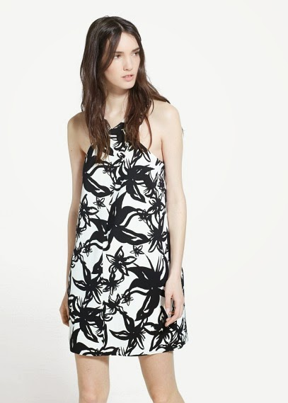 Mango 2015 Elbise Modelleri  sırttan bağlamalı desenli siyah beyaz kısa elbise