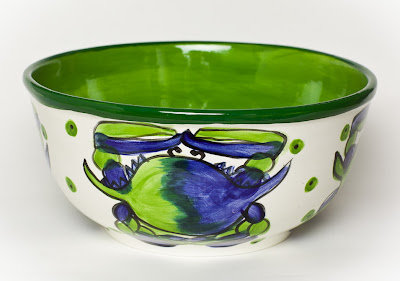 This large 12u201d Blue Crab bowl is stunning in its oceanic blue and green colors. It looks great on the table filled with chilled shrimp or on the shelf as a ... & J.Covington*Design: Coastal Artisan Dinnerware - Lobsters u0026 Crabs ...