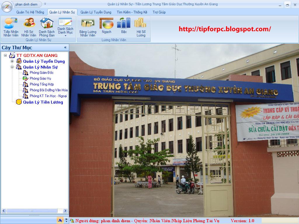 Đồ án tốt nghiệp Mã nguồn phần mềm Quản lý Nhân sự tiền lương TTGDTX An Giang