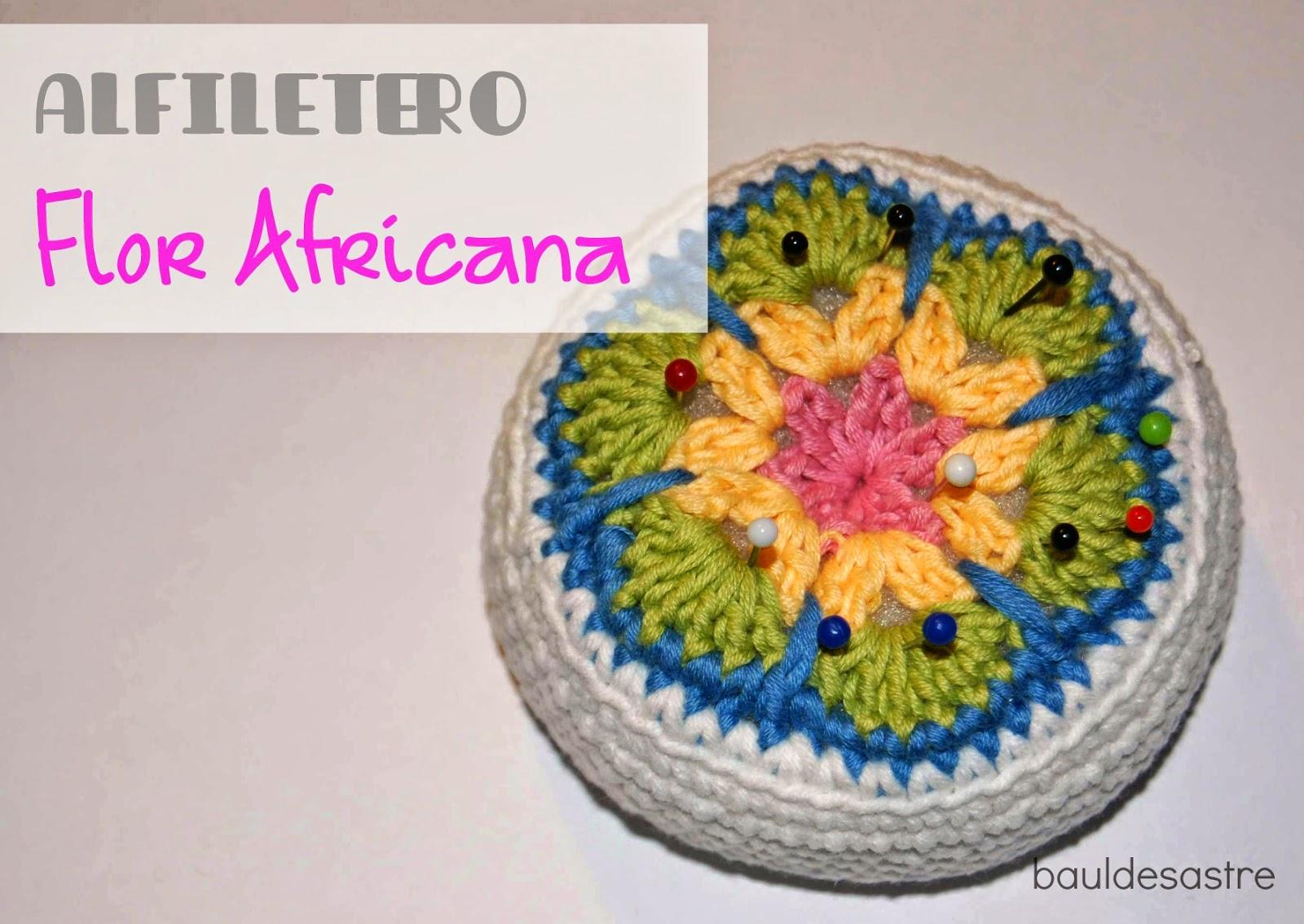 Teje en PEQUES: Tutorial. Alfiletero Flor Africana a Crochet