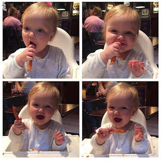 baby eating sweet potato fries